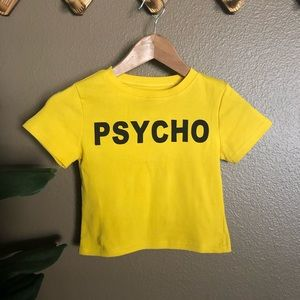 Yellow PSYCHO Crop Top SMALL